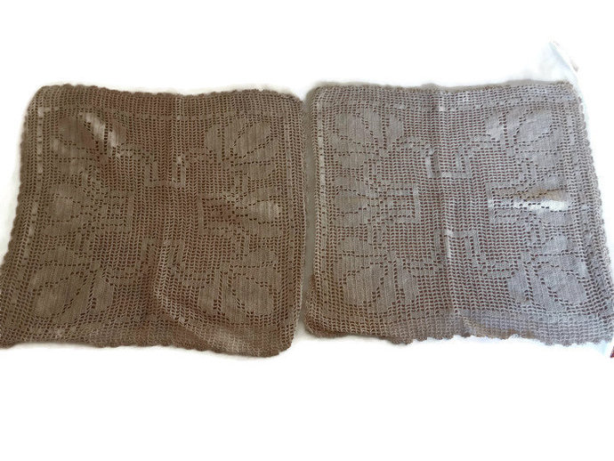 Crochet Pillow Cases, pair of two crocheted pillow cases, Beige pillow covers
