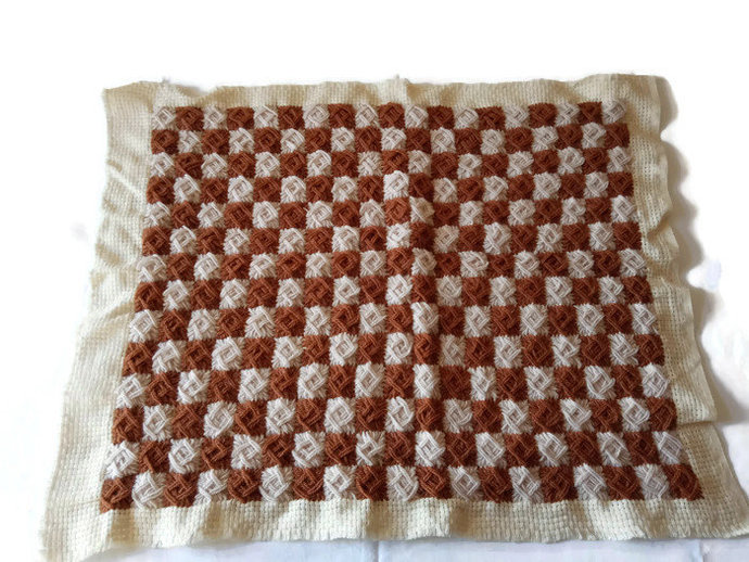 Pillow Case Brown, Hand Knitted pillow Case, Vintage pillow cover