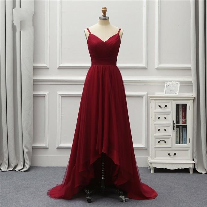 Burgundy Bridesmaid Dresses,High Low Prom Dresses