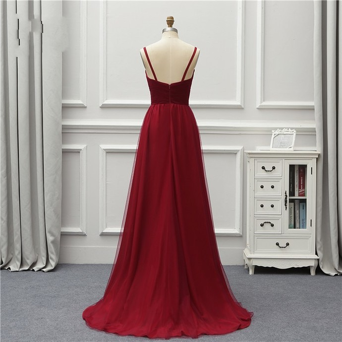 Burgundy Bridesmaid Dresses,High Low Prom Dresses