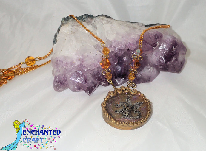 Silvery handmade dragon on a treasure hoard pedant necklace gold chain amber