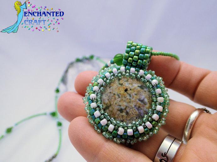 Fancy Green jasper stone beaded pendant white, emerald, lime, beads