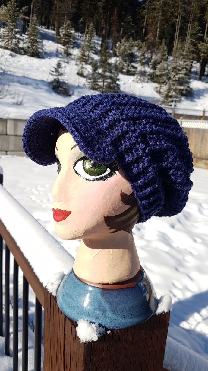 Blue Slouchy Faux Cable Newsboy Cap with big wooden button
