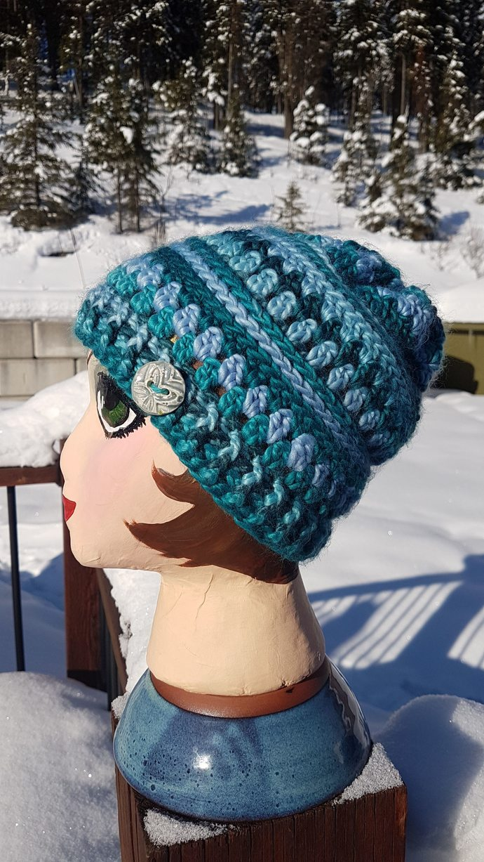 Super Soft Blue Tempest Beanie with handmade ceramic button