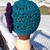 Teal Brigham Boudoir Skullcap with large flower and button