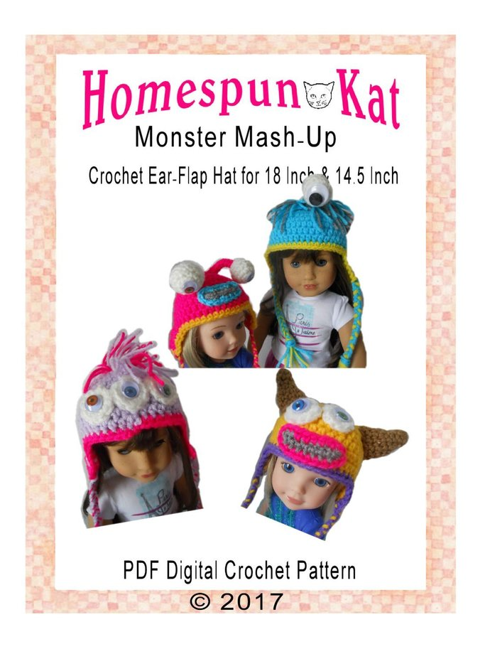 Monster Mash Up Ear Flap Hat 14.5 Inch Doll 18 Inch Doll PDF Digital Crochet