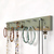 Rustic Green Jewelry Rack, Long Wall Mounted Hand Painted Rack for Necklaces,