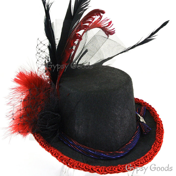 """Mini Top HAT """"Isabell"""" Victorian Black Felt and Red Trim, Rose, Long Feathers"""