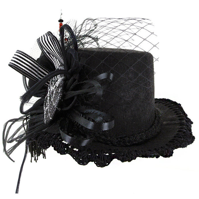 "MINI Top HAT ""Black Widow"" Victorian Mini, Black Crocheted Edge, Spiderweb"