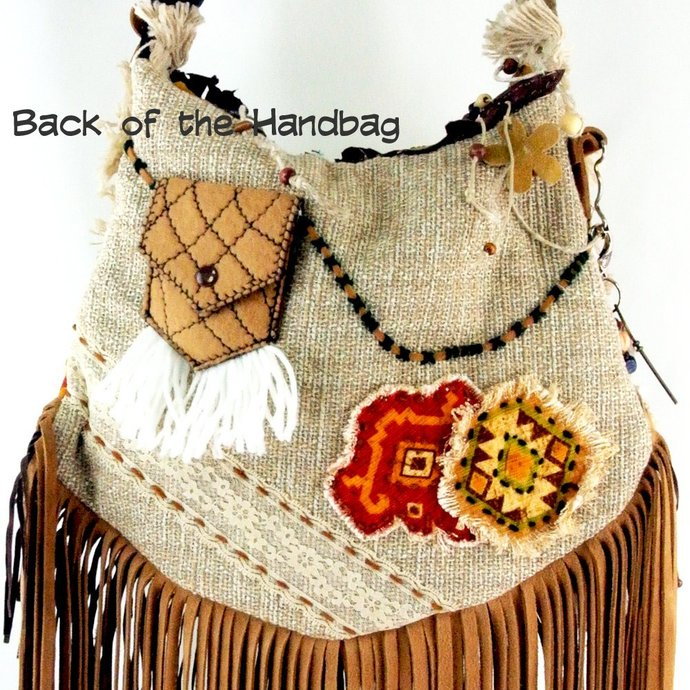 Leather Fringe Hippie Large Boho Gypsy Cross Body bag, Beaded Festival Purse