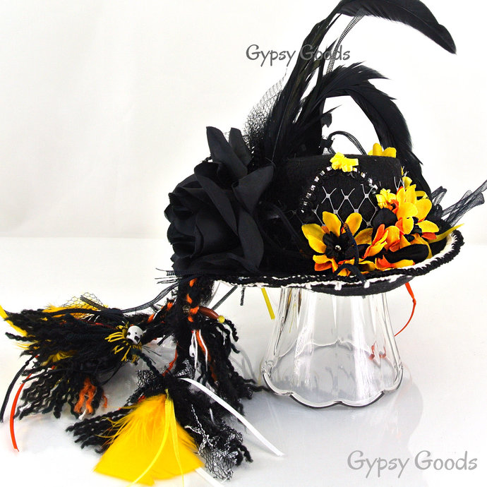 MINI Top HAT Boho Flower Child Black Felt hat,  Yellow or Red flowers, feathers,