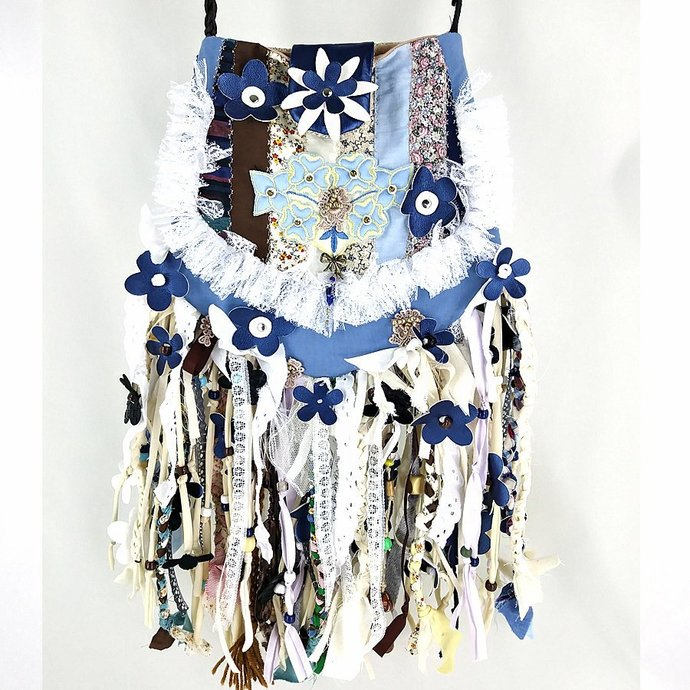 Boho Blue Flower Medium Hippie Fringe Bag, Festival Gypsy Cross Body Upcycled