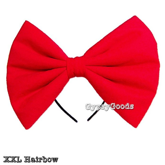 XXL HAIRBOW Adult Big Cosplay Headband Costume Flannel Hair Bow Red Black White