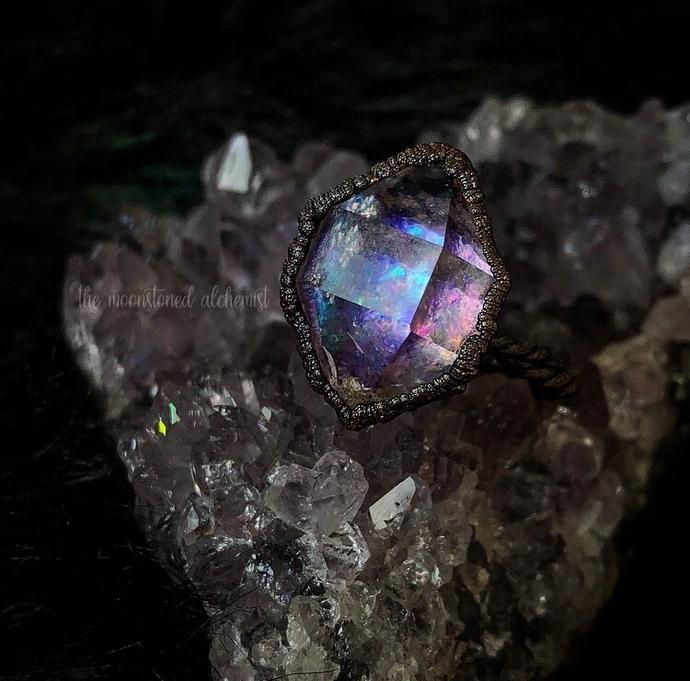 Grade AA Large Magical Herkimer Diamond Ring - Dark Copper