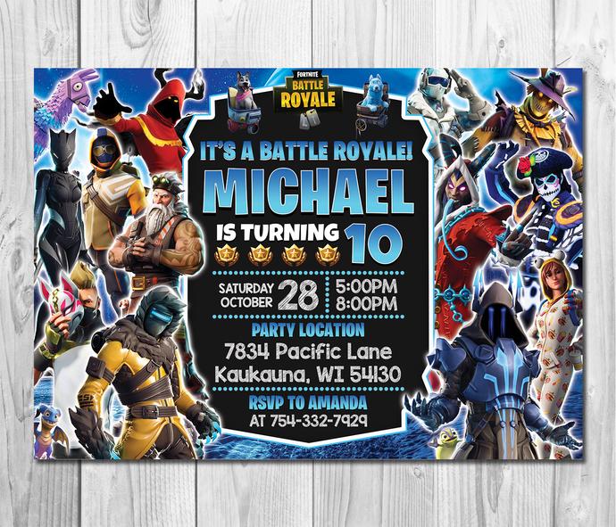 Fortnite Birthday Invitation, Fortnite Birthday Party Invitation, Fortnite