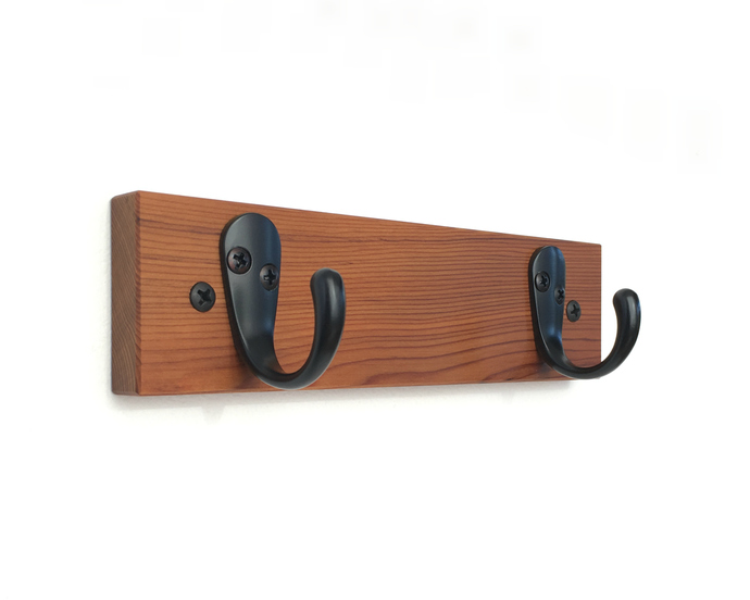 Double Wall Hook in Solid Wood with Natural Finish