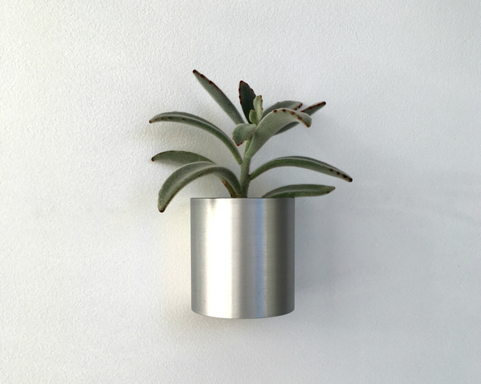 Metal Wall Planter in Polished Finish or Natural Patina, Made in USA