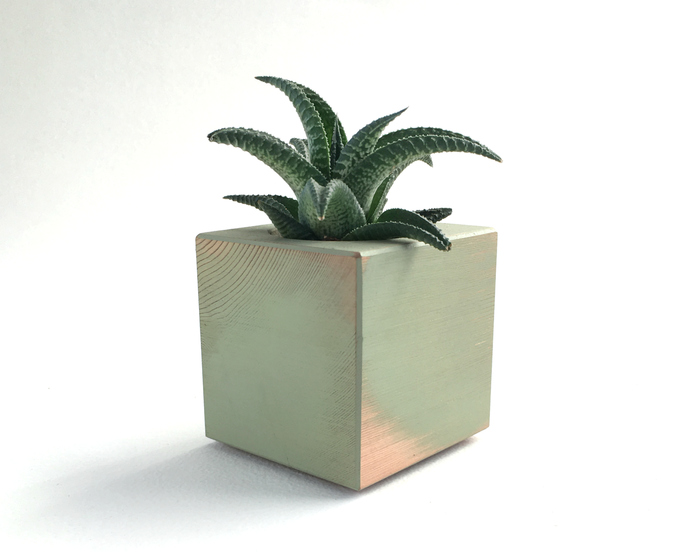 Cube Shaped Rustic Hand Painted Green Desktop Planter, Made in USA
