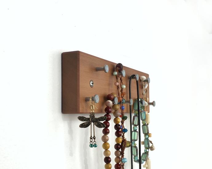 Small Jewelry Rack, Wall Mountable, Medium Tone Dark Wood, with Metal Hooks,