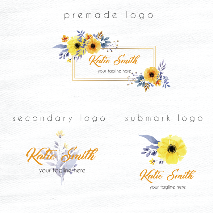Personalized logo, Premade logo, Watercolor Logo Design, Watercolor Logo, Logo
