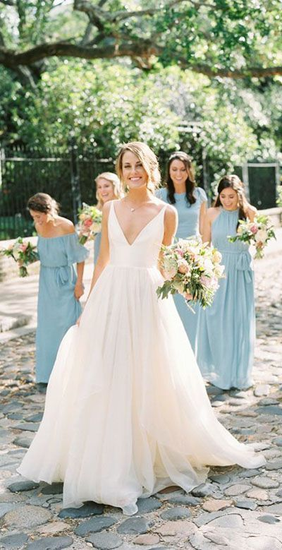 A Line Brush Train Deep V Neck Sleeveless Layers Wedding Dress,Beach Wedding