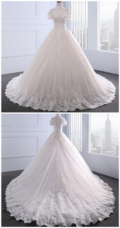 Wedding Dresses ,Short Sleeve With Beading Boat Neck Wedding Dress