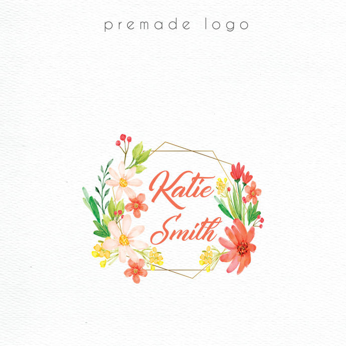 Watercolor Logo, Logo Design, Premade logo, Personalized logo, Business Card