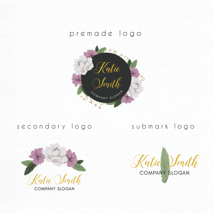 Premade logo, Personalized logo, Watercolor Logo, Watercolor Logo Design, Logo