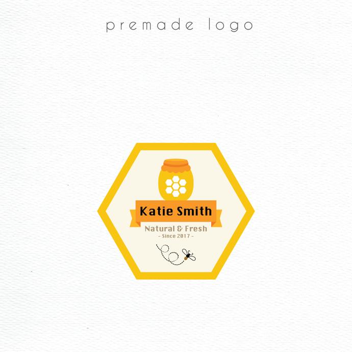 Premade logo, Personalized logo, Honey Logo Design, Honey Logo, Logo Design,