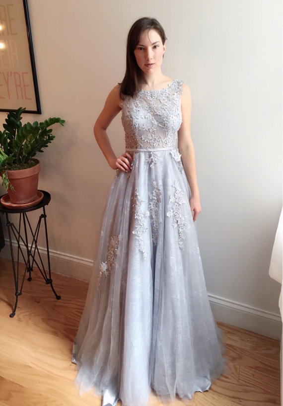 Tulle Appliques Prom Dresses A-line Long Sexy Evening Dresses Formal Gowns Cheap