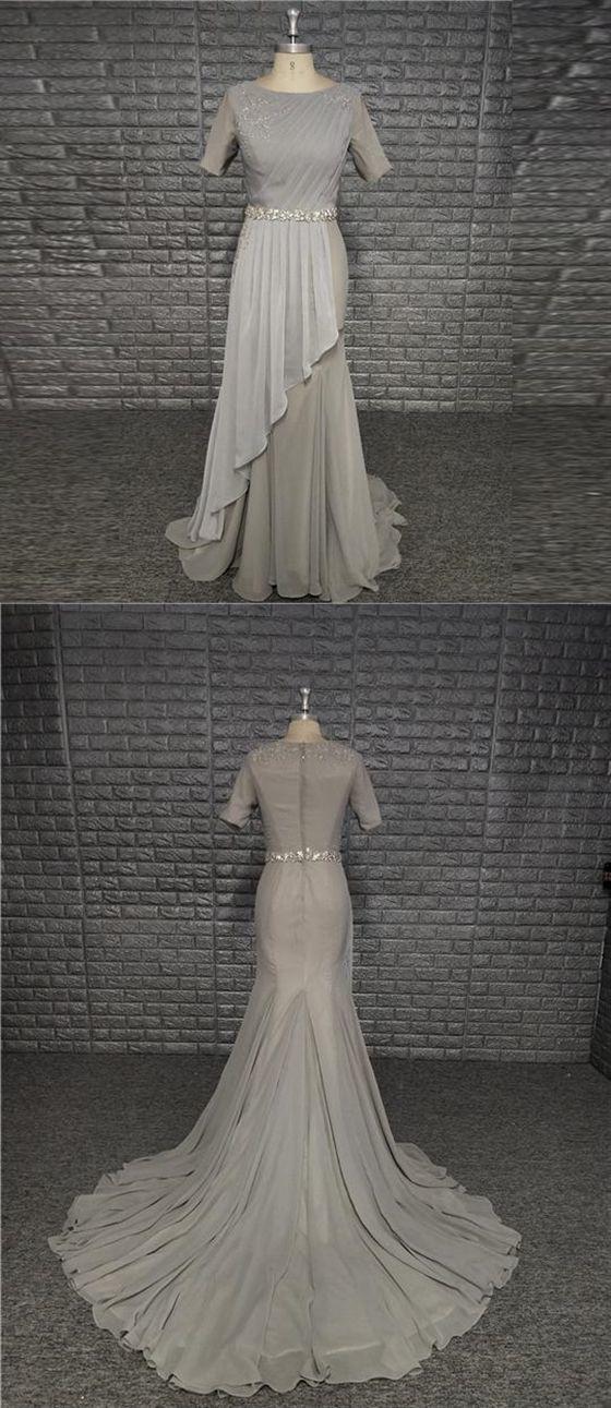 Simple Beautiful Elegant Grey Round Neck Short Sleeve Chiffon Prom Dresses With