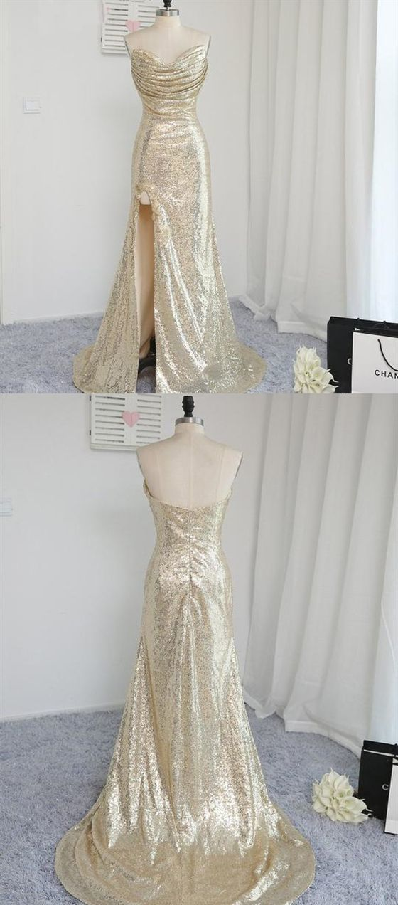 Sparkly Beautiful Elegant Sweetheart Strapless Split Prom Dresses Sequin Evening