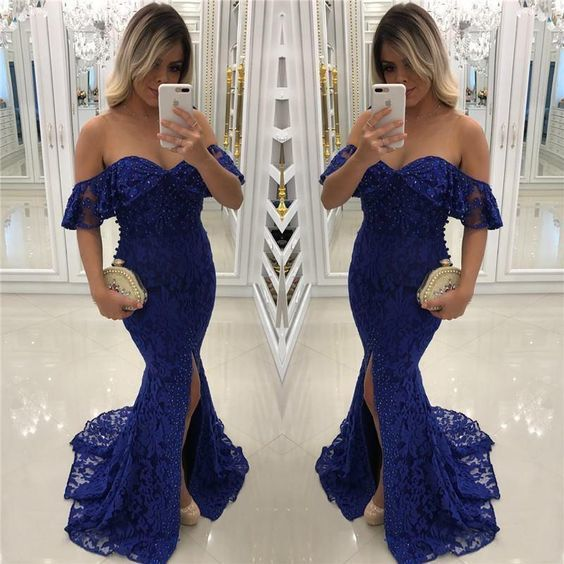 Sexy Off the Shoulder Royal Blue Mermaid Lace Prom Dresses Slit Formal Evening