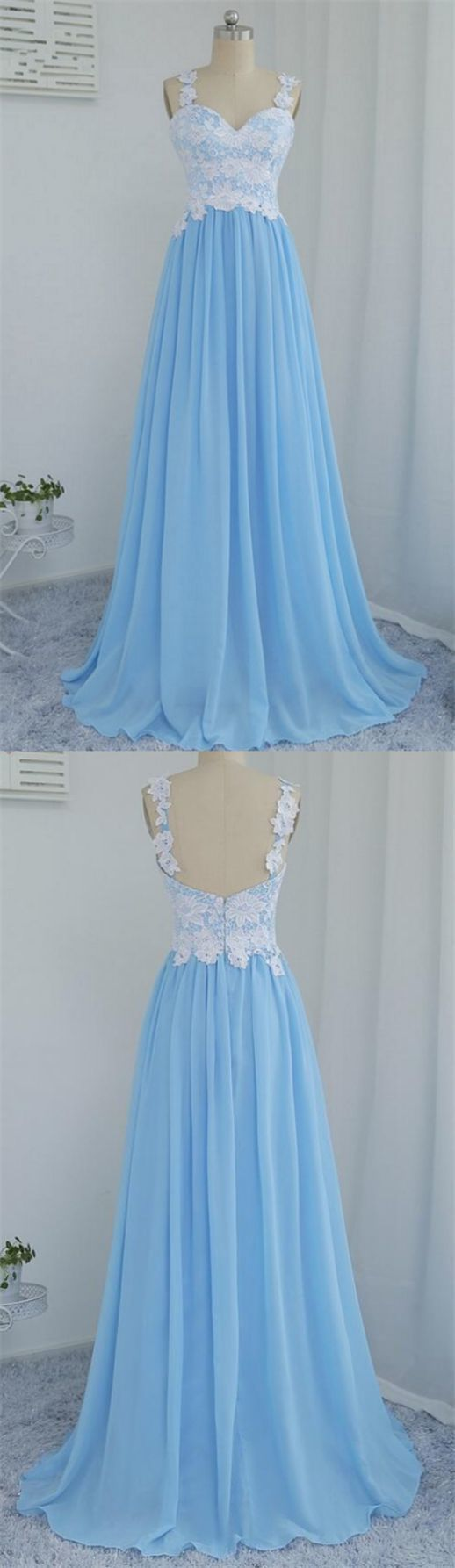 Custom Made Beautiful Blue Sweetheart Sleeveless A Line Prom Dresses Lace