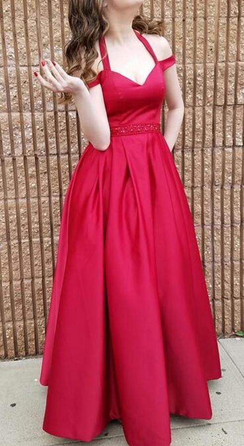 Women's V Neck Satin Evening Party Gown Burgundy Off Shoulder Beaded Prom Formal