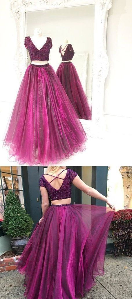 Two Piece Prom Dress,Tulle Beaded Prom Dresses,Long Prom Dress,Evening Dress,
