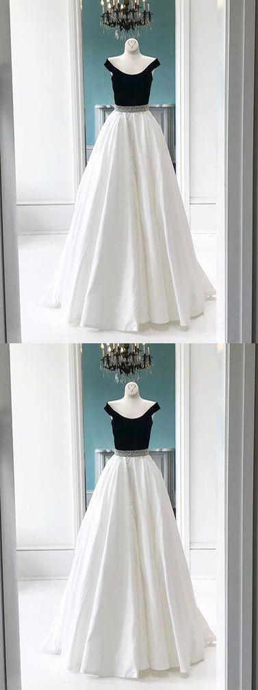two-piece prom dress, black and white prom dresses, satin prom dresses