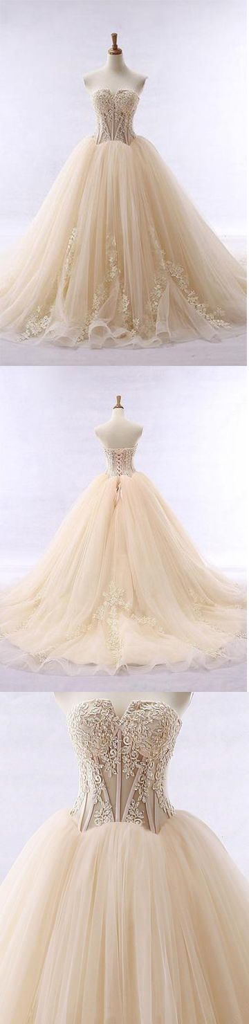 Gorgeous Chic Ball Gowns Strapless Sweetheart Tulle Lace up Modest Lace Long