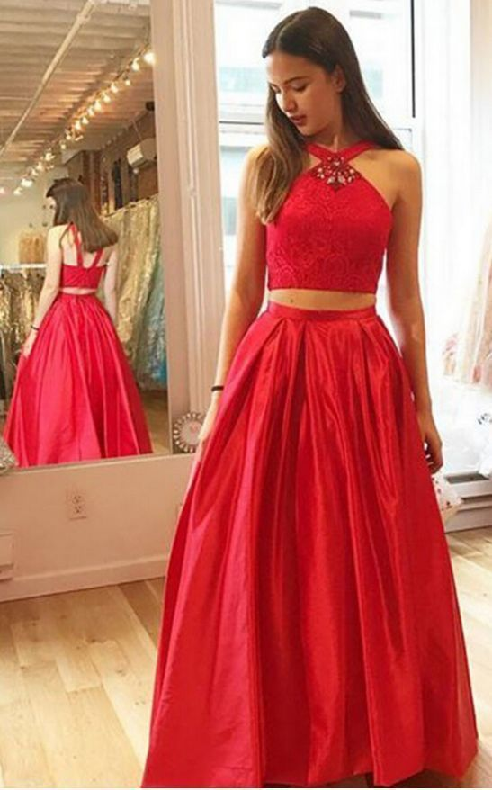 Red Prom Dress,A-Line Prom Gown,Two Pieces Prom Dress,Satin Prom Gown