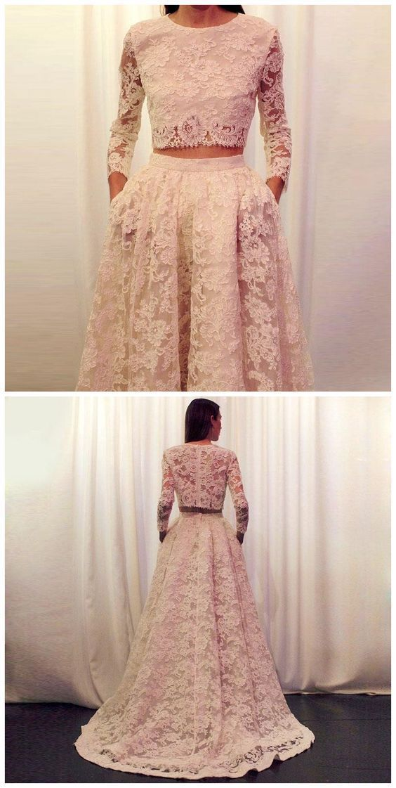 Charming Prom Dress,Lace Evening Dresses,Two Pieces Prom Dresses,A-Line Prom