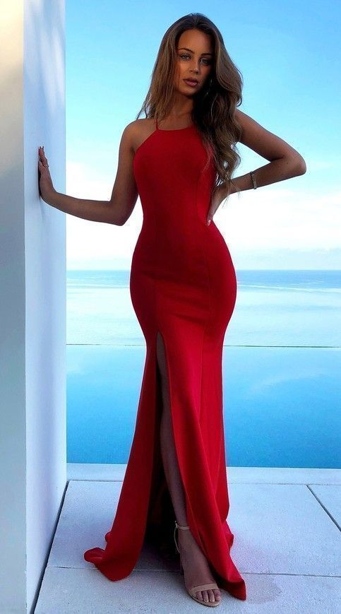 Charming Red Mermaid Evening Dress, Sexy Backless Split Slit Long Prom Dresses