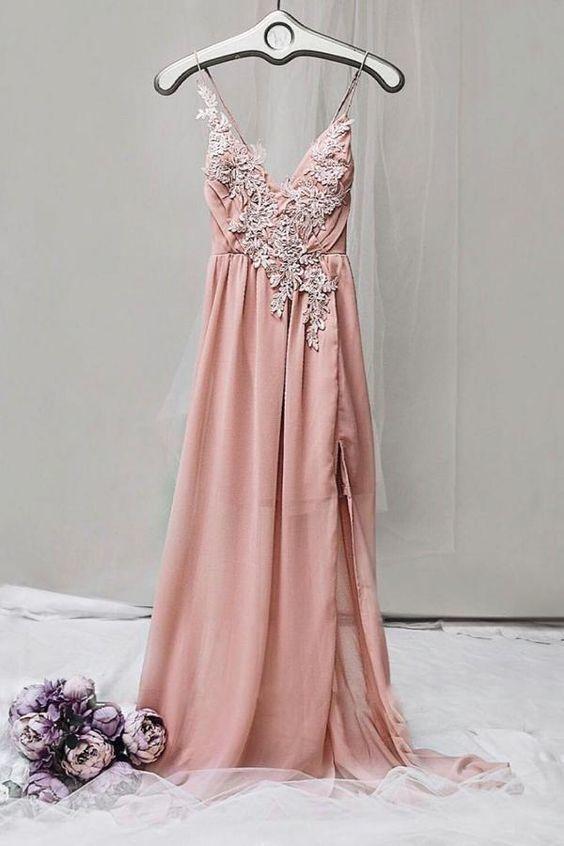 Custom made charming pink v neck chiffon lace long prom dress, pink evening