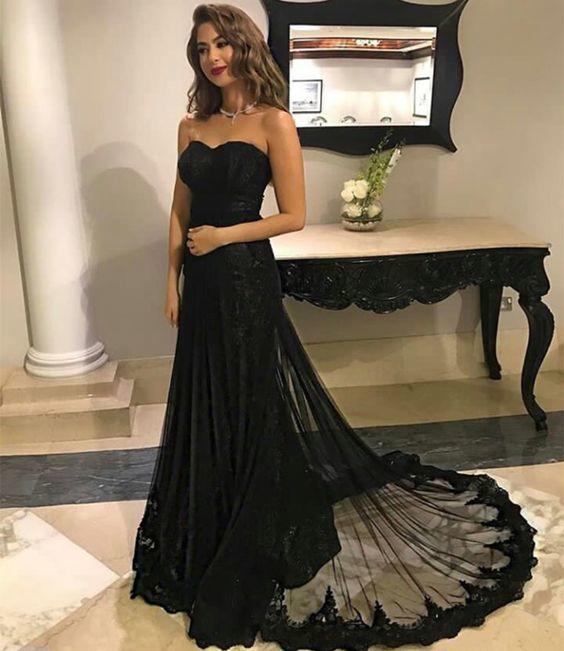 Long Black Appliques Prom Dresses Mermaid Strapless Evening Dresses Backless