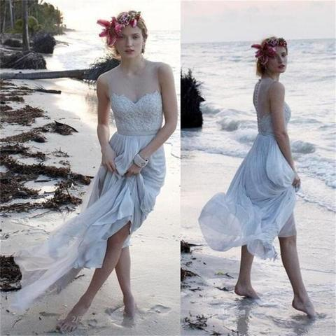 Long Chiffon Prom Dresses A-line See Through Back Evening Dresses Sleeveless