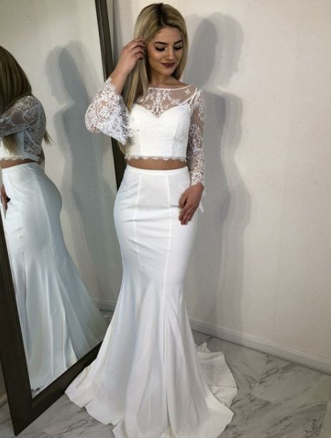 Two Pieces Prom Dress,Two Pieces Evening Dresses,Long-sleeves Prom