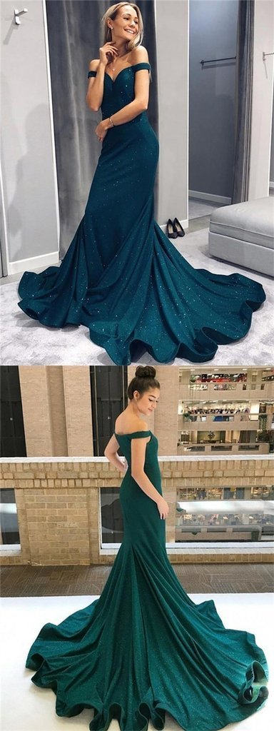 Off Shoulder Prom Dresses, Mermaid Prom Dresses, Sparkle Prom Dresses,Prom