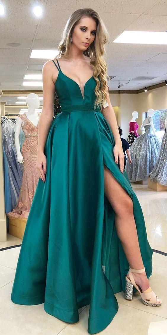 Elegant A-Line Slit-Front Teal Long Prom Dress