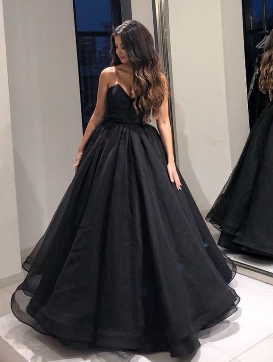 Black ball gowns prom dresses tulle strapless quinceanera dress