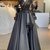 Luxurious Stunning Long Sleeves Prom Dresses V-neck Fashion Black Prom Dress