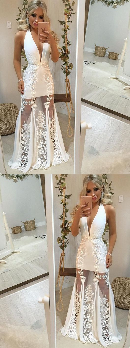 Beautiful Simple Prom Dresses Halter Appliques Open Back Prom Dress Sexy Evening